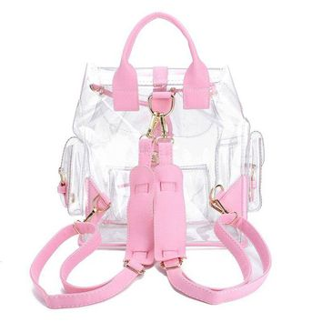 Girls Stylish Clear PVC Waterproof Backpack School Bag With Side Pockets