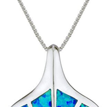 Real 925 Sterling Silver Blue Created Opal Whale Tail Pendant with an 18 Inch Box Necklace