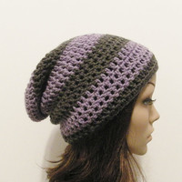 LazyDay Slouch Beanie  Lavender Gray Stripes