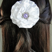 Custom Wedding Hair Clip or Brooch Pin Bridal Bridesmaid Flower Girl White Satin Rosette Pearl Center In Your Choice of Colors