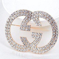 GUCCI Stylish Women Chic Full Diamonds GG Brooch Jewelry I/A