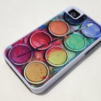 Tough iPhone 4 / 4S case - Paintbox Watercolor Palette Watercolor Set white iPhone 4 cover,protective as brand name cases