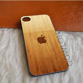 Apple Logo Inlaid in Wooden iPhone 4 | 4S Case