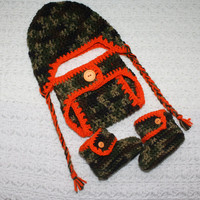 Hunter Camouflage Infant Beanie, Diaper Cover and Bootie Set With Earflaps