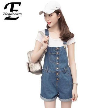 LMF8UH Elegdream Brand Clothes Fashion Denim Overalls for Women Rompers Female Jean Shorts Bodysuit Cross Strap Laides Playsuits Shorts