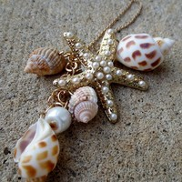 Sea Star and Shells Golden Necklace