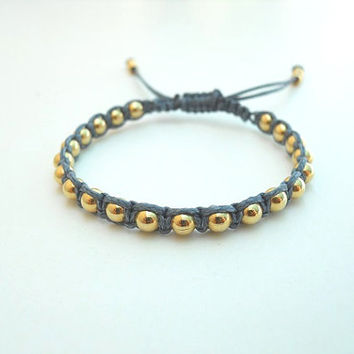 Gold beads Macramé Bracelet with Smoky blue Waxed Cotton Cord