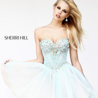 Sherri Hill 21156 - Beaded Sequins Strapless Sweetheart Prom Dress in Aqua