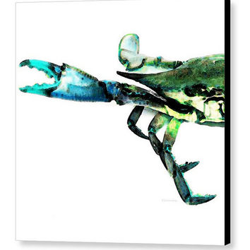 Beach Art Blue Crab Animal PRINT from Painting Green Color Abstract CANVAS Seafood Large Artwork Beachy Sea Ocean Coastal House Tropical