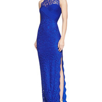 Sleeveless Lace-Collar Gown, Mystic Blue
