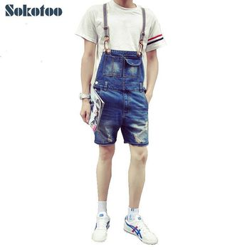 Sokotoo Men's casual summer style denim bib overalls for man Short knee length hole ripped jeans Capri Jumpsuits Free shipping
