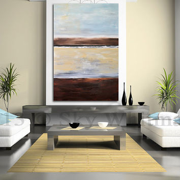 Original Large Abstract Painting Modern 5 Foot Acrylic Abstract Art Organic Pale Blue 40 x 60 Free Shipping