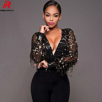 Reaqka Summer Women Jumpsuit Black Sequined Bodysuits Gold Sequin Leotard Bodysuits Club Wear Embroidery Jumpsuit Party Romper