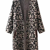 Long Sleeves Open Front Leopard Printed Coat