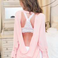 Glad You Asked Peach Open Back Sheer Top
