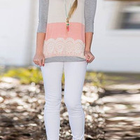 Color Block Lace-Paneled Tee