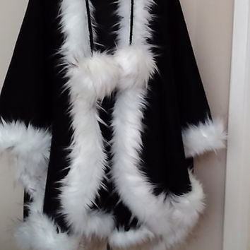 Sale Hooded Winter Black Cashmere Cape in Faux Fur Trim  Women's Poncho   HandmadebyNadya