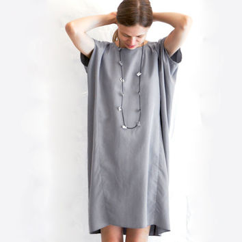 Women's Summer Light Grey Tunic Loose Shift Dress