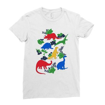 dinosaurs Ladies Fitted T-Shirt