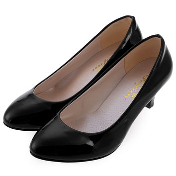 Beleza Spring Summer Elegant Ladies Pumps Shallow Mouth Low Heel Business Shoes Women PU Leather Shoes Heels Single Shoes