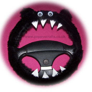 Monster Roar Black steering wheel cover faux fur fluffy furry fuzzy car truck van jeep cute googly eyes teeth dragon truck suv fun van
