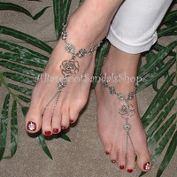 #gypsy #rose #barefoot #sandals #anklet #foot #jewelry #sized #wedding #shoes #ankle #toe #ring #chain #unique #cute #pretty