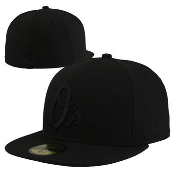 New Era Baltimore Orioles Black On Black 59FIFTY Fitted Hat - Black