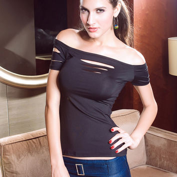 Black Cut-Out Strapless Short Sleeve Bodycon Top