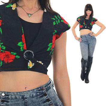 Floral Crop top Black belly Cropped Cotton Boho Deep V plunging Hawaiian cap sleeve Vintage 1980s Retro Hipster Medium