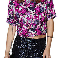 ROMWE Floral Print Cropped Purple Mid-riff T-shirt