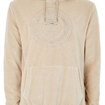 Stone Velour Embroidered Hoodie - New Arrivals - New In