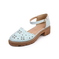 Ankle Strap Hollow Out Mid Heel Sandals Summer Shoes 9090
