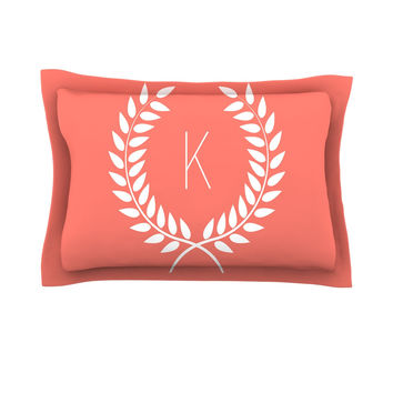 "KESS Original ""Coral Wreath Monogram"" Pillow Sham"