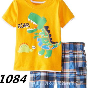 Dinosaur Pyjama Boys Girls Pijamas Set Short Sleeve T-shirt&Pants Pijamas Minions Kids Pyjama Enfant Summer Pajamas Sets