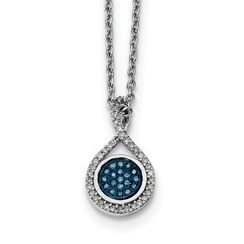 Blue & White Diamond Round Teardrop Necklace in Sterling Silver