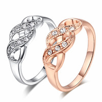 Rose-Gold/Silver Crystals Plated Ring Wedding Engagement Love