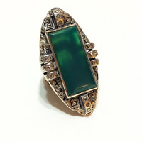 Art Deco Sterling Silver and Chrysoprase Ring, Marcasites, Massive, Unusual, Statement Ring, 1930s