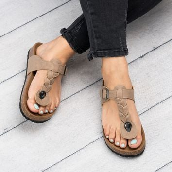 Braided Thong Footbed Sandals - Taupe