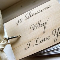 I Love You wood notepad / notebook  40 reasons by quotesandnotes
