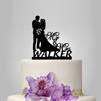 custom name wedding cake topper Silhouette, bride and groom silhouette wedding cake decor, Mr and Mrs cake topper, wedding gift idea
