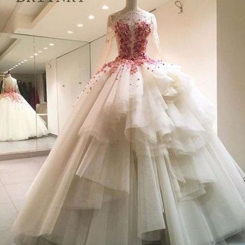 Luxury Vestido De Noiva Ball Gown Wedding Dress Lace Long Sleeves Appliques Beaded Vintage Bridal Gown Plus Size