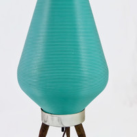 Vintage Turquoise Beehive Lamp - Tripod Light - Plastic Ribbed Tabletop Lighting