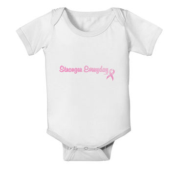 Stronger Everyday Breast Cancer Awareness Ribbon Baby Romper Bodysuit