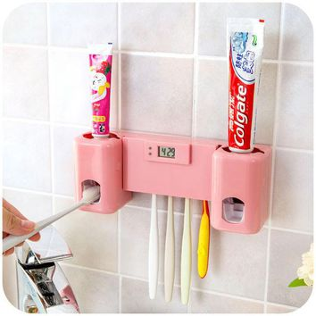 DCCKL72 Bathroom accessories Products Clock  Automatic Toothpaste Dispenser +Toothbrush Holder Set Wall Mount Rack Bath Oral