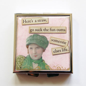 Funny pill box, Funny pill case, Pill Case, Pill Box, 4 Sections, Square Pill case, Square Pill box, retro, suck the fun, humor  (4093)