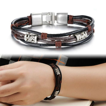 Men's Handmade Leather Bracelets Men Punk Surfer Multilayer Bracelet