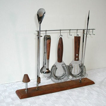 Bar Tool Set & Stand - Cocktail Utensils With Stand - Vintage Barware
