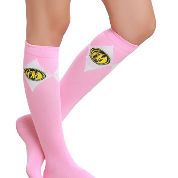 Mighty Morphin Power Rangers Pink Ranger Knee-High Socks | Hot Topic