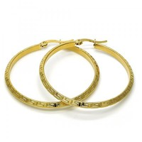 Stainless Steel 02.244.0005.45 Medium Hoop, Greek Key Design, Polished Finish, Golden Tone