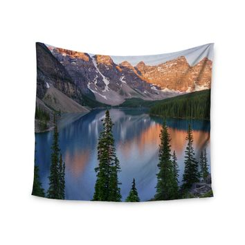 """Evergreen Lake"" Mountain Snow Scene Wall Tapestry"